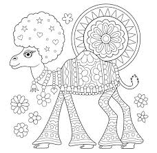 Animal Coloring Pages For Adults Free Hippie Camel Coloring Page By
