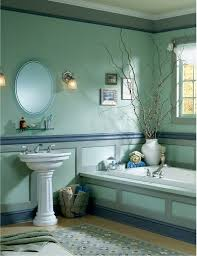 Brown And Blue Bathroom Decor White Stained Wooden Frame Wall ...