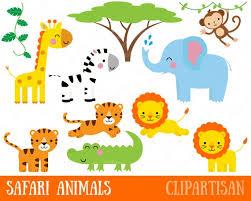 Safari Animals Template Safari Animals Clipart Printable Jungle Animal Clip Art Monkey Giraffe Elephant Crocodile Lion Tiger Zebra