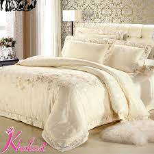 Luxury Satin Bedding Sets Silver Ivory White Jacquard Satin Cotton ... & Luxury Satin Bedding Sets Silver Ivory White Jacquard Satin Cotton Comforter  King/Queen Size Free Shipping Khaleesi Hometextile-in Bedding Sets from  Home ... Adamdwight.com