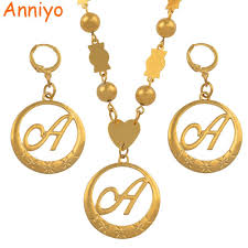 whole anniyo cursive letters gold color beads pendant initial chain for women ball necklace english letter jewelry 135006 pendants and necklaces gold