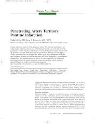 pdf penetrating artery territory pontine infarction
