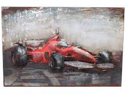 red racing car metal wall hanging