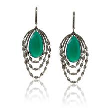 chandelier earrings with black diamonds green onyx in rhodium plated white gold