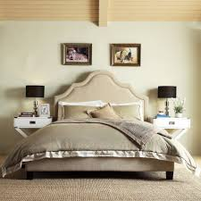 Fletcher Linen Nailhead Arch Curved Upholstered King Bed by iNSPIRE Q Bold  - Free Shipping Today - Overstock.com - 15268135