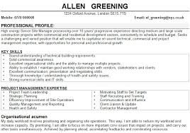 Example Of Construction Resume Construction Manager Cv Samples