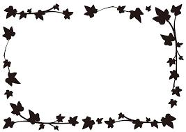 葉っぱのモノクロフレーム枠