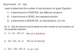 quadratic equation presentation math calculator radicals positive discriminant math ex 6 use the discriminant to determine the number of real solutions