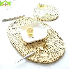 straw placemats whole round woven natural cup coasters dining table mats rattan home improvement