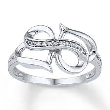 infinity ring. heart/infinity ring diamond accents 10k white gold infinity