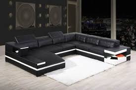 Black Bonded Leather Sectional Sofa with Adjustable Headrests