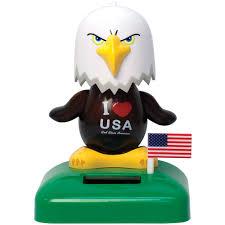 new i heart usa bless america patriotic bald eagle solar powered desk dancer