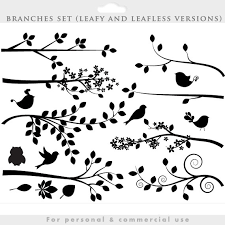 bird branch silhouette clip art. Fine Silhouette Branch Silhouette Clipart  Tree Clip Art Silouette Whimsical Cute  Branches Birds Bird Leaves Leaf Decorative Personal Commercial Use Throughout Bird Silhouette Clip Art D