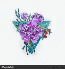 тату фиолетовый пион эскиз фиолетовый пион в треугольнике на белом