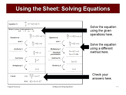 building and solving equations