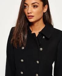 sentinel new womens superdry military pea coat black