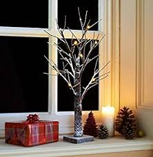 SNOWY LIGHT-UP TWIG TREE 70CM/2FT BROWN/WHITE CHRISTMAS PRE-LIT