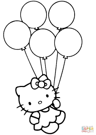 Small Picture Hello Kitty with Balloons coloring page Free Printable Coloring