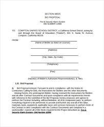 Sample Bid Proposal Template Contractor Bid Proposal Template Contractor Bid Template