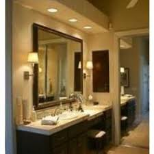 over vanity lighting. bulkhead with potlights over vanity side lighting y