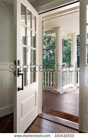 open front door. Vertical Wide Shot Of An Open, Wooden Front Door From The Interior Upscale Open