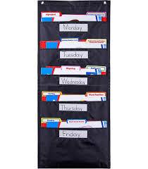 File Folder Storage Black Pocket Chart