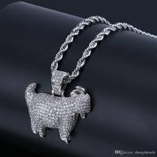 whole new shiny trendy goat animal pendant necklace charms for men women gold silver color cubic zircon hip hop jewelry custom jewelry gold jewellery