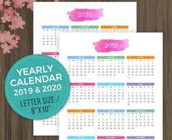 Printable Calendar 2019 2020 Desktop Calendar Yearly Wall Calendar Year At A Glance Yearly Planner Yearly Organizer Letter Size 8x10