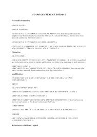 Standard Format Resume Haadyaooverbayresort Com