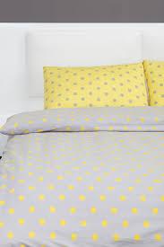 yellow and grey polka dot duvet cover set