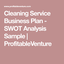 Cleaning Service Business Plan - Swot Analysis Sample ...