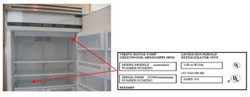 viking refrigerator inside. please locate the model and serial number of your refrigerator which is located either behind produce drawer or on ceiling interior viking inside c