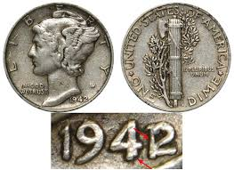 1942 Mercury Silver Dime 42 Over 41 Coin Value Prices