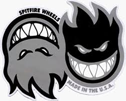 spitfire logo. spitfire wheels - grey duo flame logo sticker / decal
