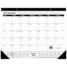 At A Glance Monthly Desk Pad Calendar Ruled Blocks January 2018