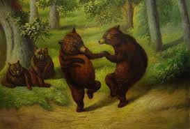 dancing bears wall oilpainting ping for canvas arts
