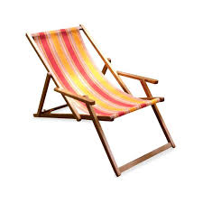 wooden deck chair with arm rest pillow sunrise stripe