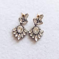 waldorf white crystal chandelier earrings front