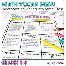 Frayer Frames Math Vocabulary Menu Activities By The Positive Math