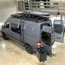 $300/sprinters & nv, $550 promasters, $600/transits. Sprinter Van Loaded With Aluminess Gear Roof Rack Ladder And Rear Bumper System Mercedes Sprinter Camper Sprinter Van Camper Sprinter Camper