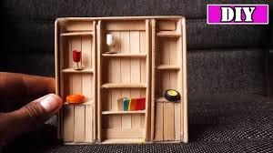 how to build miniature furniture. Dollhouse Miniature Furniture | DIY Bookcase Popsicle Stick Craft How To Build