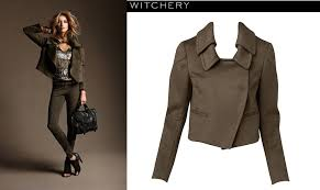 witchery khaki melton wool double collar crop trench coat jacket 6 witchery studded leather