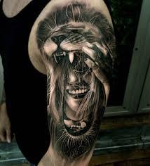 татуировка тату девушка маска лев волосы альбом 2