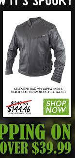 xelement bxu1974 alpha men s black leather motorcycle jacket