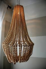 upcycle a plain chandelier into a beaded showpiece pertaining to elegant house diy wood bead chandelier prepare