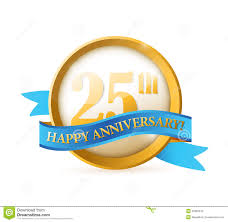 Anniversary Ribbon 25th Anniversary Seal And Ribbon Illustration Stock Illustration