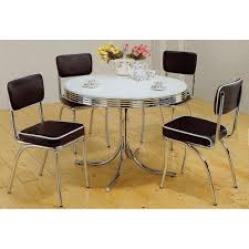 com 5pc white chrome retro round table black chairs 36 inch round glass top dining table set