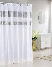 Modern shower curtains Large Floral Print Bathroom More Pure White Fabric Shower Curtain Silver Metallic Accent Stripes 10 Stunning Homes Modern Shower Curtains Ebay