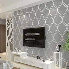 Grey wallpaper living room ...