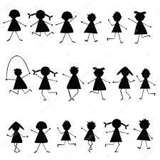 Sagome Di Bambini Stilizzati Neri Foto Stock Hibrida13 3522012